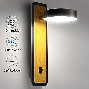 Lightess Apliques de Pared LED Interior 12W Regulable Lámpara de Pared Dormitorio Luz Moderna Iluminación Madera para Escalera, Pasillo, Rotación de 360°, Voltear de 180°, Negro: Amazon.es: Iluminación