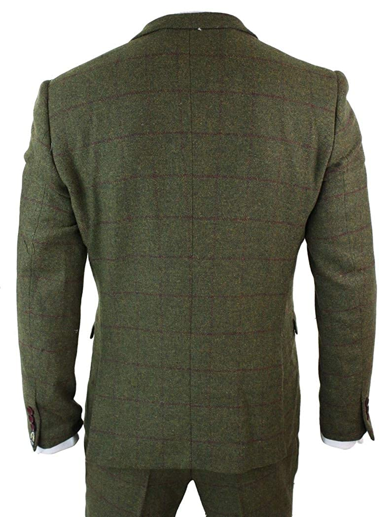Pretydress Mens Plaid Tweed 3 Piece Suit Slim Fit Two Button Wool Thick Tuxedo for Winter