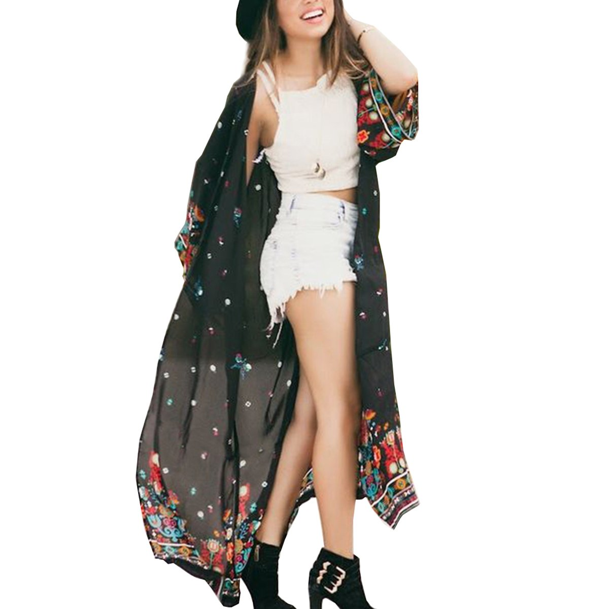 BB&KK Women's Floral Print Boho Style Beach Wear Lightweight Cover up Tops Kimono Cardigan 2XL