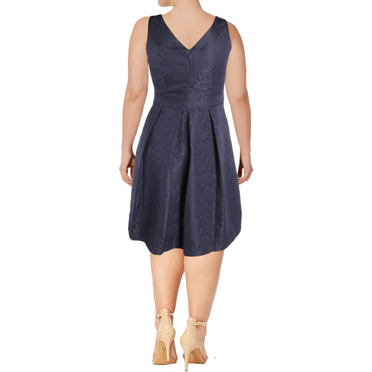Size 16 Big Bow Plus Size Fit /& Flare Dress in Navy S