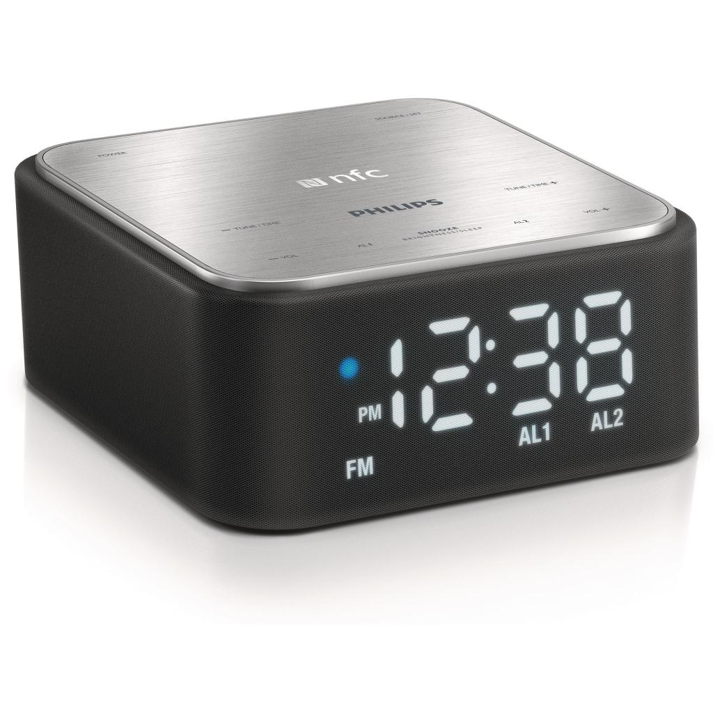 philips bluetooth music speaker with clock radio dual alarm sleep timer usb port ebay. Black Bedroom Furniture Sets. Home Design Ideas