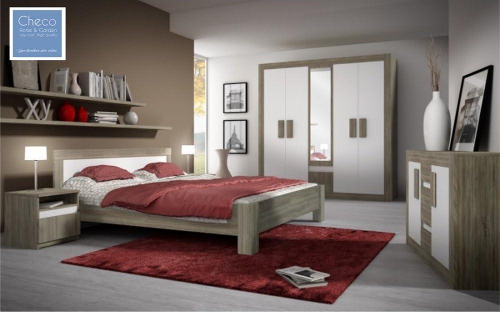 Checo Home And Garden New Modern Bedroom Furniture Set Mediolan I Sonoma Oak Truffle White Matt Amazon Co Uk Kitchen Home