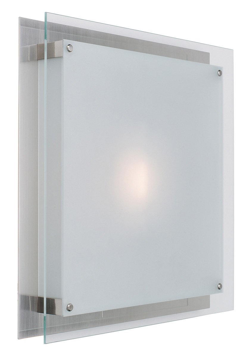 Access Lighting 50032LEDD-BS/FST Vision LED Light 16-Inch Flush Mount with Frosted Glass Shade, Brushed Steel Finish