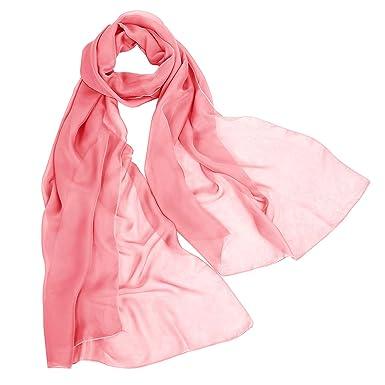 Bbonlinedress écharpe châle foulard étole pashmina en mousseline  polyester,Corail 190cm 8348a3bb863