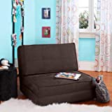 Your Zone - Flip Chair Convertible Sleeper Dorm Bed Couch Lounger Sofa Multi Color New (Brown)
