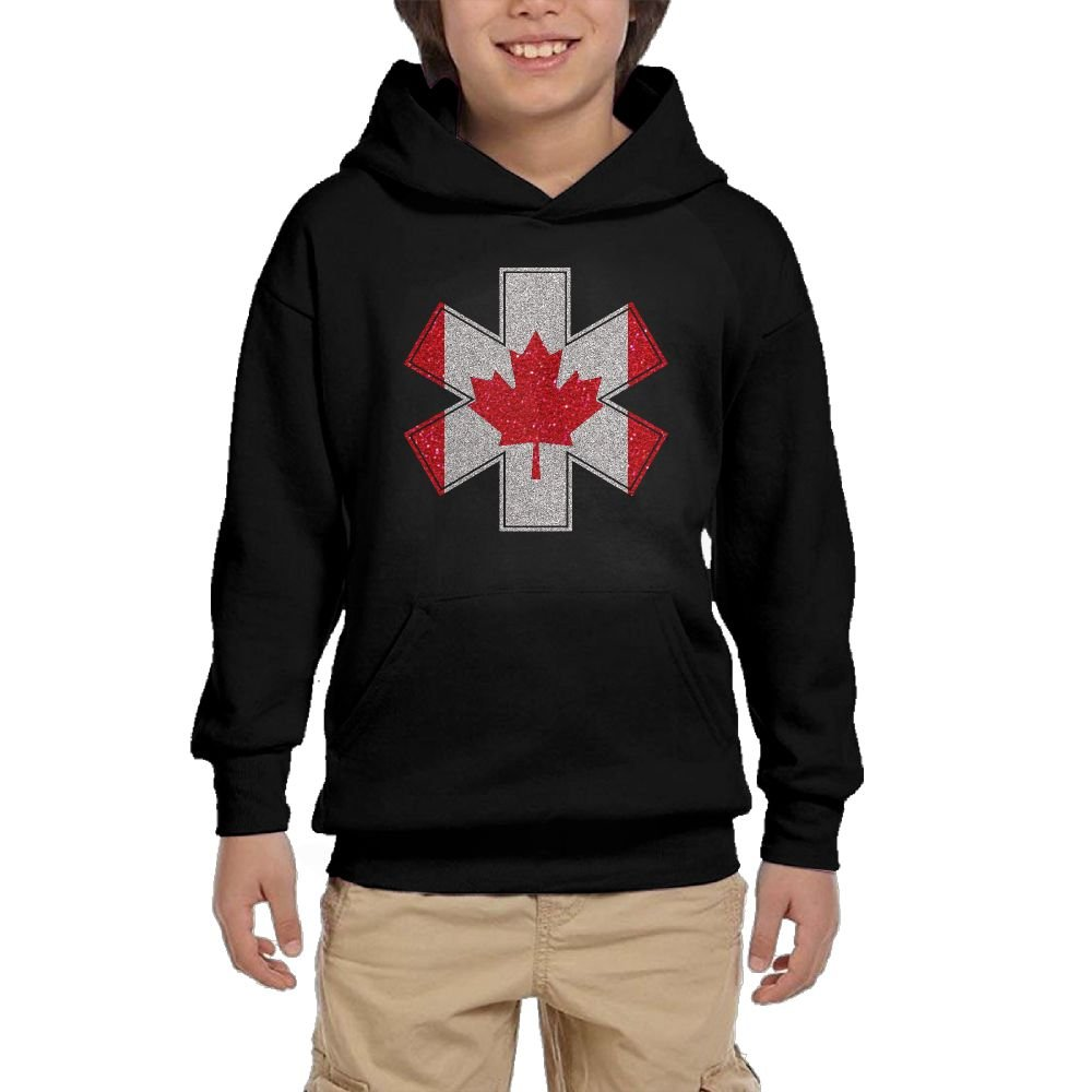 Youth Black Hoodie EMT Paramedic Cross Canada Maple Leaf Flag Hoody Pullover Sweatshirt Pocket Pullover For Girls Boys M