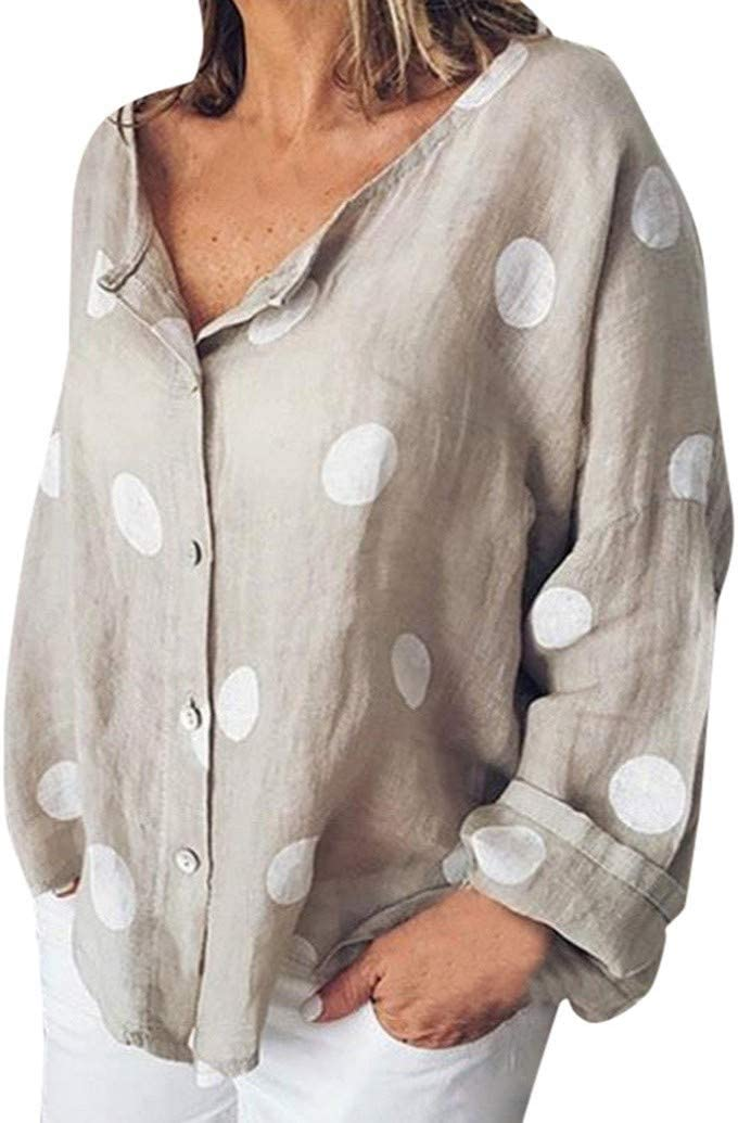 Damen Hemd Gro/ße Gr/ö/ße Mode Beil/äufig Lose Langarmshirt Knopf Top Tunika T-Shirt Hemd Oberteile Weiches Linen Polka Dot Drucken V-Ausschnitt Hemdbluse Leinenbluse TWBB