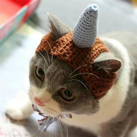 Uni Best Cool Unicornio Dinosaur Gato Sombrero de Punto de Navidad Mascota de punto de mano
