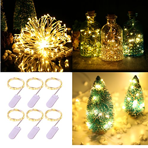 Table Centerpieces With Lights - Pack of 6 LED Moon Starry String Lights with 20 Micro LEDs on 3.3feet/1m Silver Coated Copper Wire, 2 x CR2032 Battery Power(Included), for DIY Wedding Centerpiece or Table Decorations (Warm White)