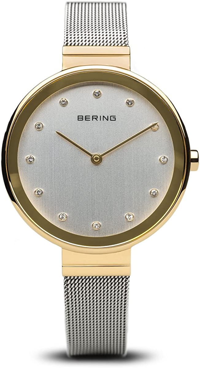 BERING Reloj Analógico para Mujer de Cuarzo con Correa en Acero Inoxidable 12034-010