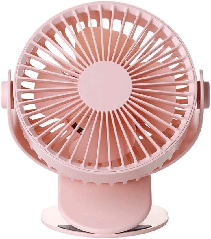 Color : Pink Air Cooling Fan Table Mute Clip Fan USB Charging 360 Degrees Rotating Big Wind Desktop Fan Brushless Motor Summer Fan