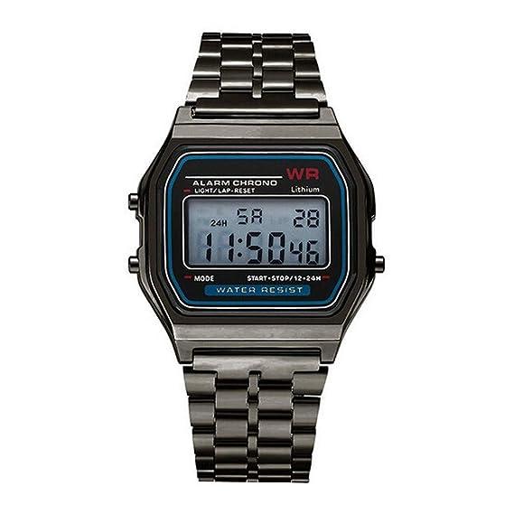 Yvelands Liquidación LED Digital Reloj de Pulsera de Cuarzo Resistente al Agua Vestido de Oro Reloj de Pulsera Mujeres Hombres (tamaño Libre,Negro): ...
