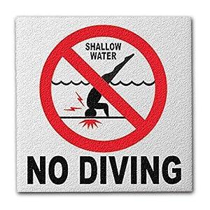 Ceramic Swimming Pool International No Diving Symbol Deck Abrasive Non-Slip Finish