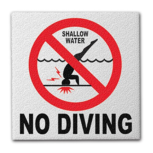 Ceramic Swimming Pool International No Diving Symbol Deck Abrasive Non-Slip Finish