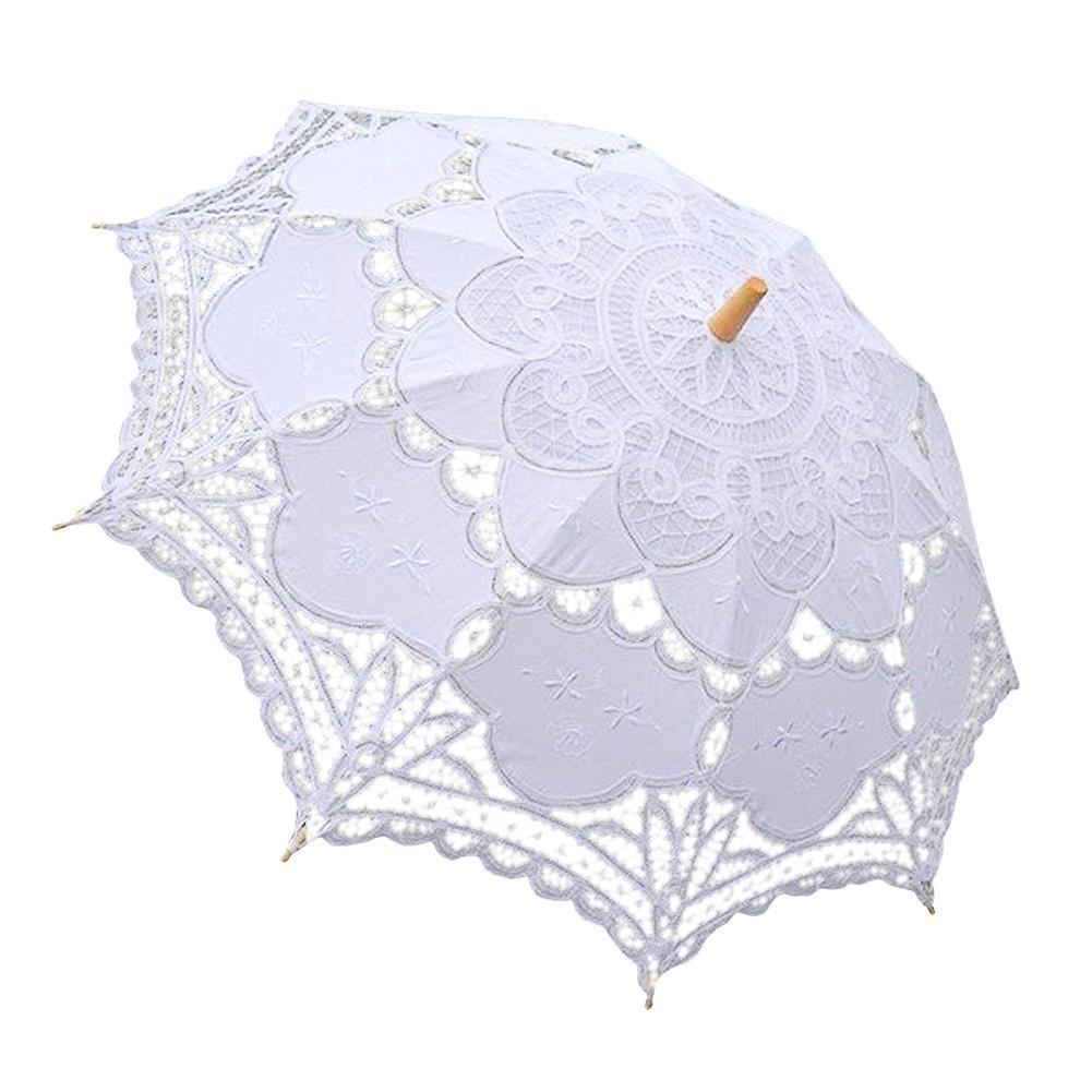 Reputedc Parapluie de décoration de mariage creux européen romantique blanc/beige/noir parapluie cadeau personnalisé,Protection UV randonnée pédestre plage promenade parapluie dentelle extérieure