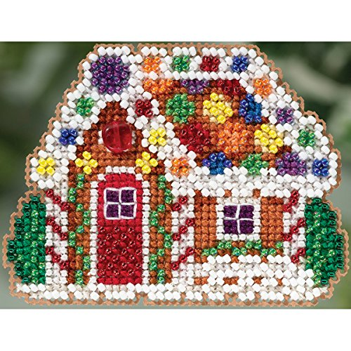 Gingerbread Cottage Beaded Counted Cross Stitch Christmas Ornament Kit Mill Hill 2015 Winter Holiday MH185305