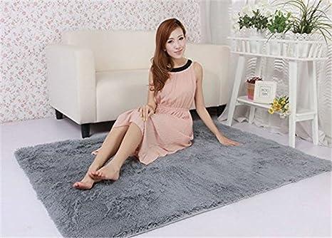 Yontree Cozy Shaggy Area Rugs Floor Rug Bedroom Carpet Fluffy Mat,Silver  Gray