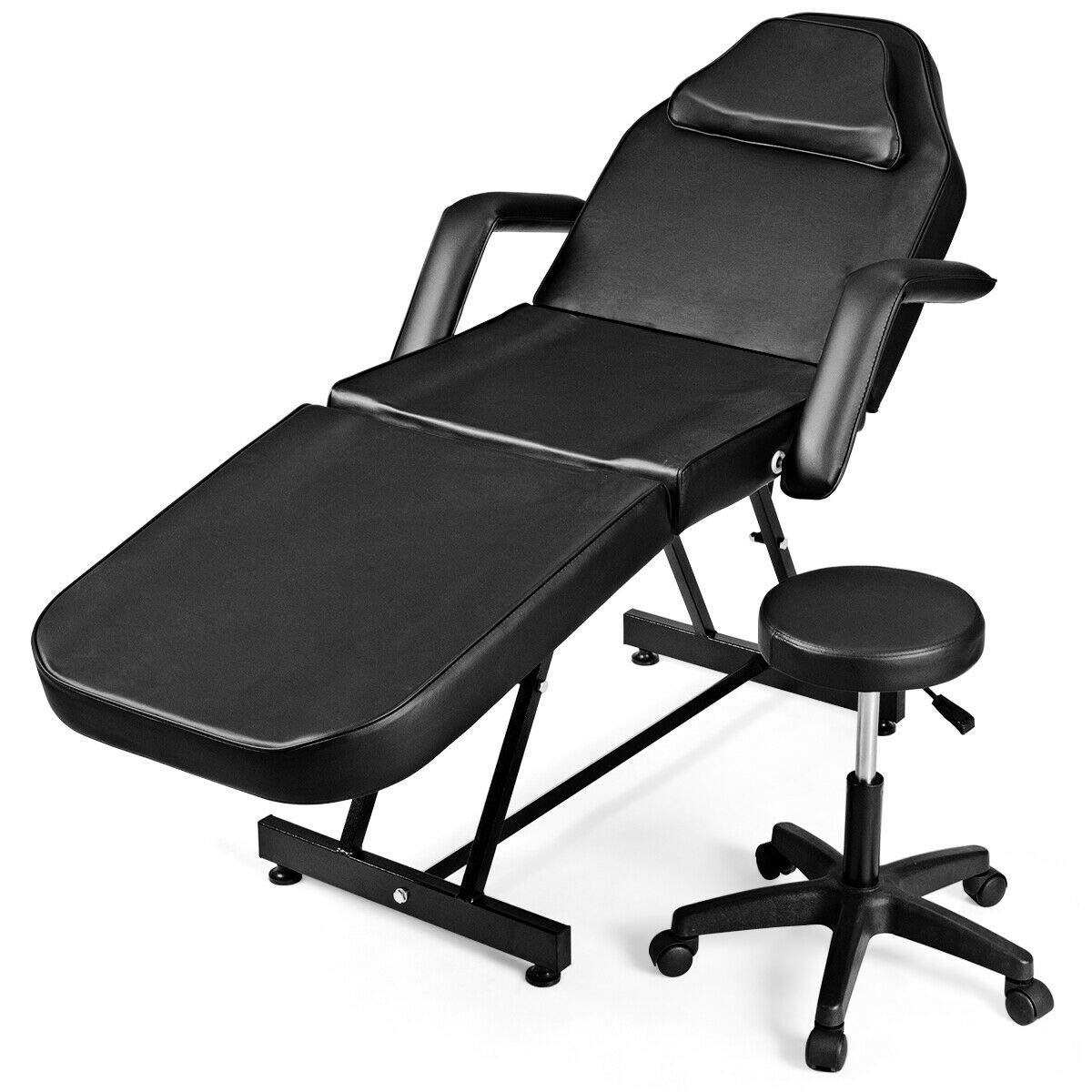 Giantex Massage Table Facial Bed Chair for Spa with Stool, Adjustable Height Portable 73'' Salon Massaging Tables for Barber Face Beauty, Updated Facial Beds and Tattoo Chairs, Black