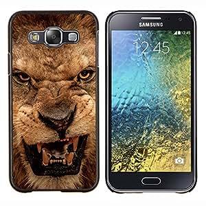 EJOOY---Cubierta de la caja de protección para la piel dura ** Samsung Galaxy E5 E500 ** --Rugido del león enojado Cerrar Dientes Ojos Retrato