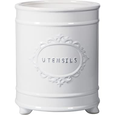 Home Essentials French White Vintage Footed Utensil Crock with Embossed Lettering