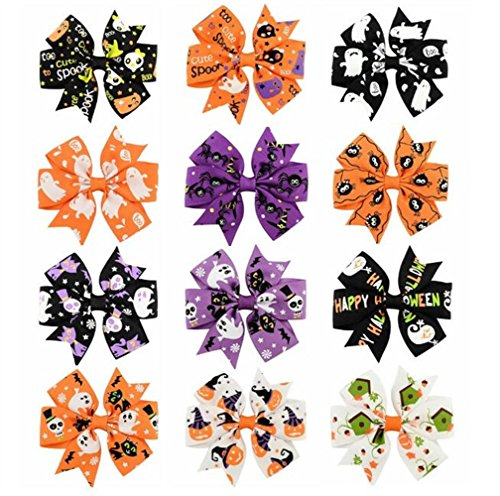 Royarebar Diverse Styles Hair Decorations 12PCS Personality Hairc Clips Child Hair Clips Halloween Decorations by Royarebar