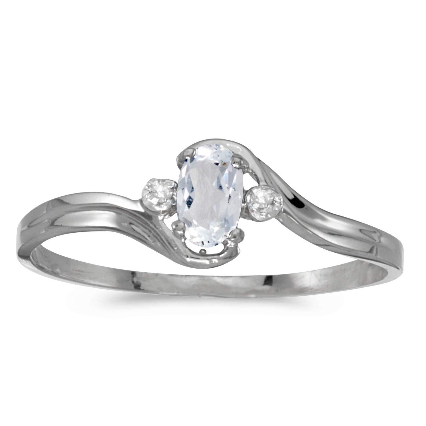 FB Jewels 14k White Gold Genuine Birthstone Solitaire Oval Gemstone And Diamond Wedding Engagement Statement Ring