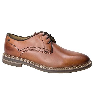 ef5f6cb1576 Base London BLAKE Mens Washed Leather Plain Derby Shoes Tan  Amazon.co.uk   Shoes   Bags