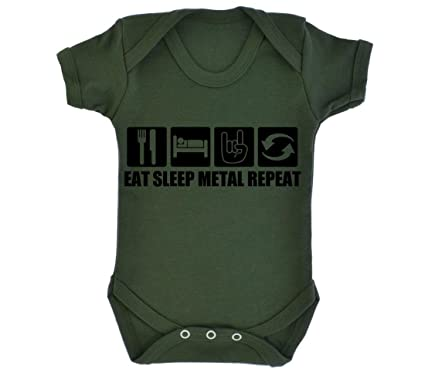 e0baf2d80be8 Eat Sleep Metal Repeat Design Baby Bodysuit Army Green with Black ...