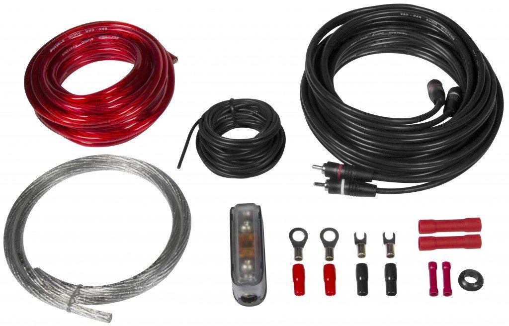 ESX HZ10WK KIT cavi completo per installazione amplificatorre in auto 10mm alimentazione portafusibile rca cablaggio cavo positivo e negativo 10 mm occhielli accessori impianto audio car hi fi
