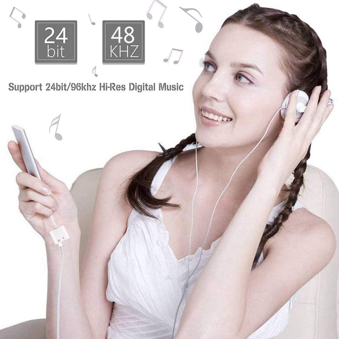 Adaptador de Auriculares para iPhone 11 Llamada + Audio + Remoto Jack de AUX Audio Adaptador Compatible para iPhone 11//11 Pro//XS MAX//X//XR//8//8 Plus 4 in 1 Conector de Auriculares para Todos iOS