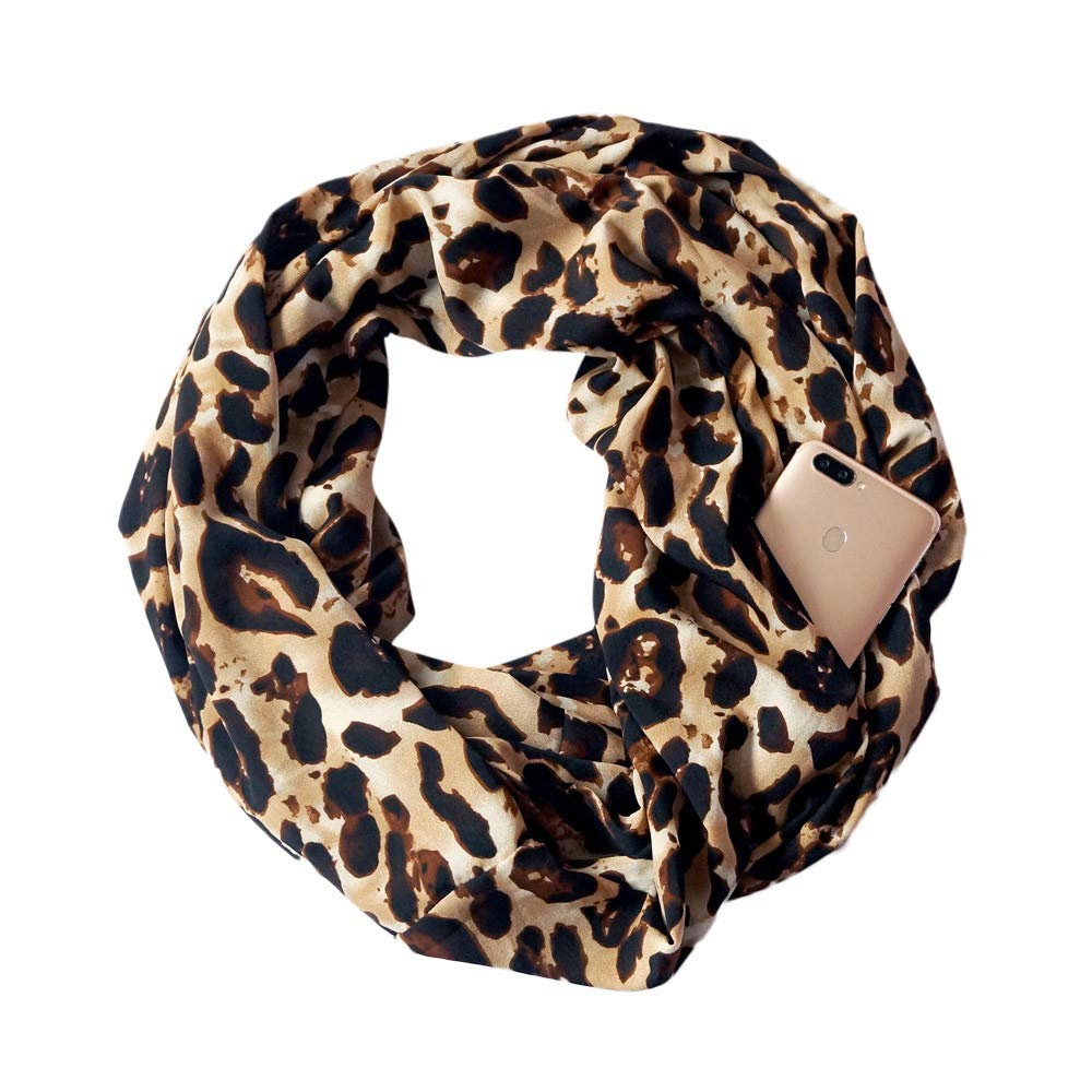 Clearance WUAI Infinity Scarf with Hidden Zipper Pocket Scarf Warm Soft Large Oversized Shawl Scarves(A,Free Size)