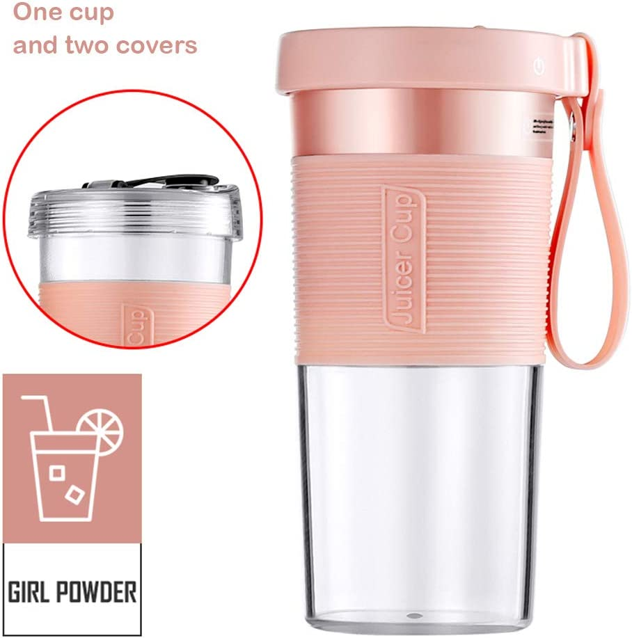 Portable Blender Cordless Personal Fruit Smoothie Juicer Cup 320ml USB Rechargeable Waterproof Mini Juice Mixer Fruit Blender Cup for Home Office Travel Outdoors Sports BPA Free Tritan (Pink)