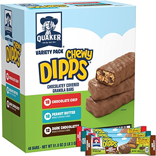 - Quaker Chewy Dipps Chocolate Covered Granola Bars Variety Pack, 48 Count