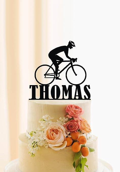 qidushop - Decoración para tartas de bicicleta para hombre con nombre personalizado para tartas de cumpleaños, decoración