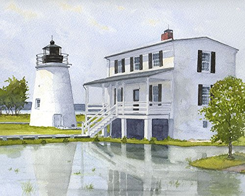 Maryland Lighthouse (Piney Point Lighthouse Maryland Potomac Chesapeake Matted Watercolor Art Prints)