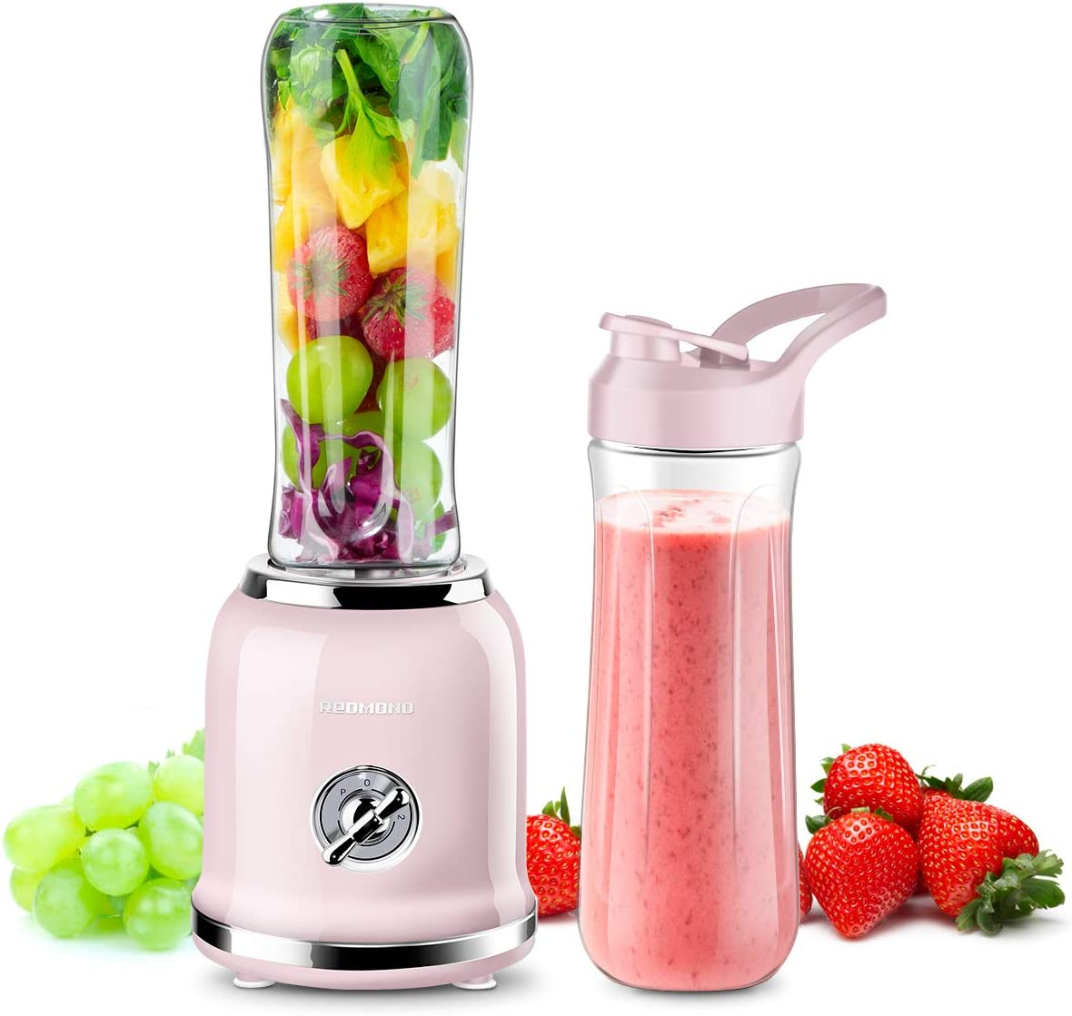 REDMOND Personal Blender Countertop Smoothie Blender 21000RPM with 2 x 20oz Travel Bottle 2 Speed, Pulse Function 6 Stainless Steel Blades BPA Free Pink