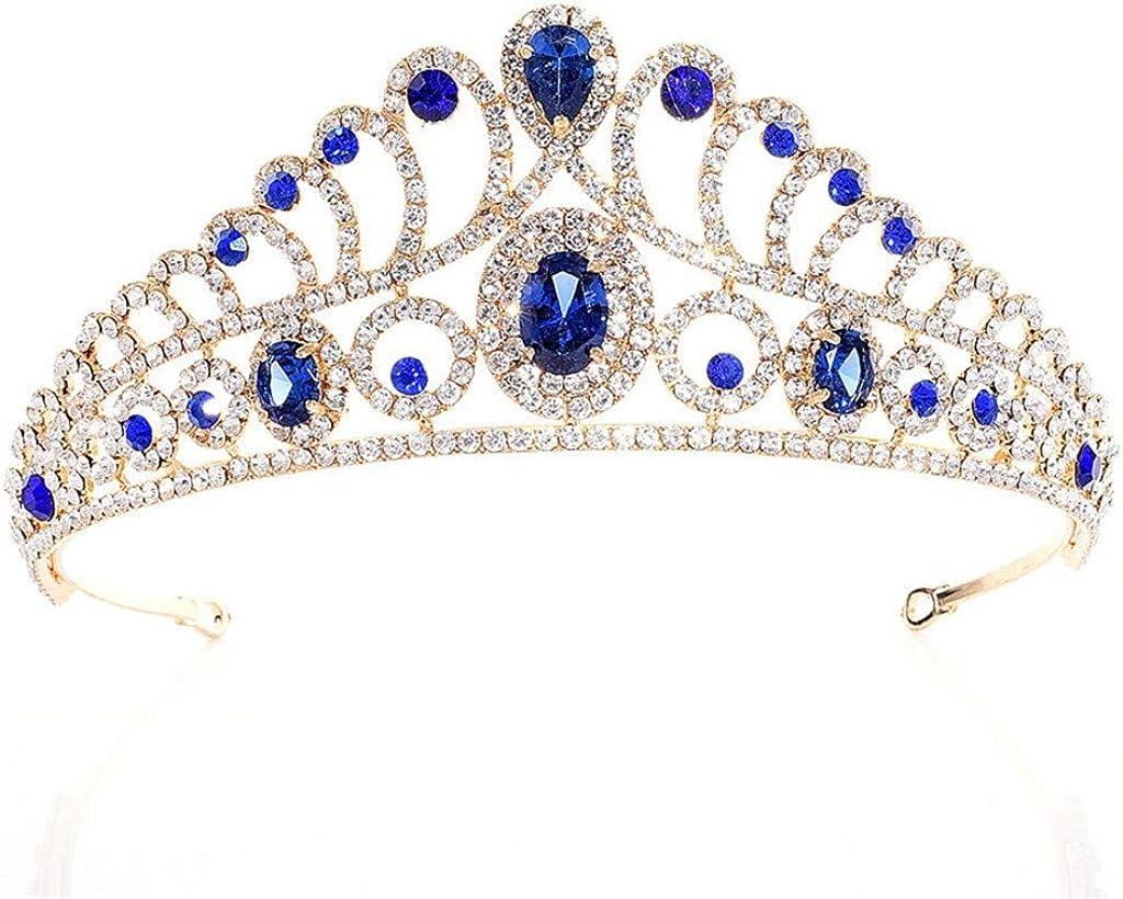 SADASD Corona de Diamantes de imitación de circón Nupcial zircón de Lujo Diadema Nupcial Diadema Accesorios de Boda, Azul Real, joyería del Partido Tocado Corona