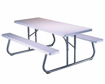 Bon Lifetime 80215 Folding Picnic Table, 6 Feet, White Granite