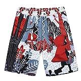 NUWFOR Men Spring Summer Print Trunks Quick Dry Beach Surfing Running Short Pant(Multicolor,US S Waist:30.71'')