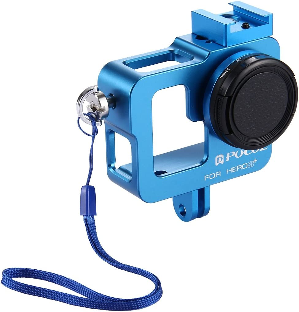 Color : Blue Black XHC Metal Protective Cage Housing Shell CNC Aluminum Alloy Protective Cage with 37mm UV Lens Filter /& Lens Cap for GoPro HERO3+ //3