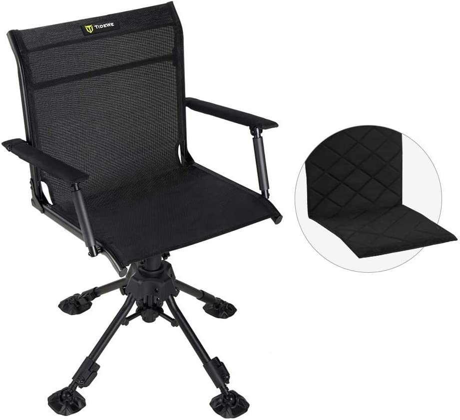 Amazon Com Tidewe Hunting Chair With Seat Cover 360 Degree Silent Swivel Blind Folding Chair 4 Legs Adjustable Height Hunting Seats With Armrest Portable Comfortable Stable Ground Hunting Chair Sports Outdoors