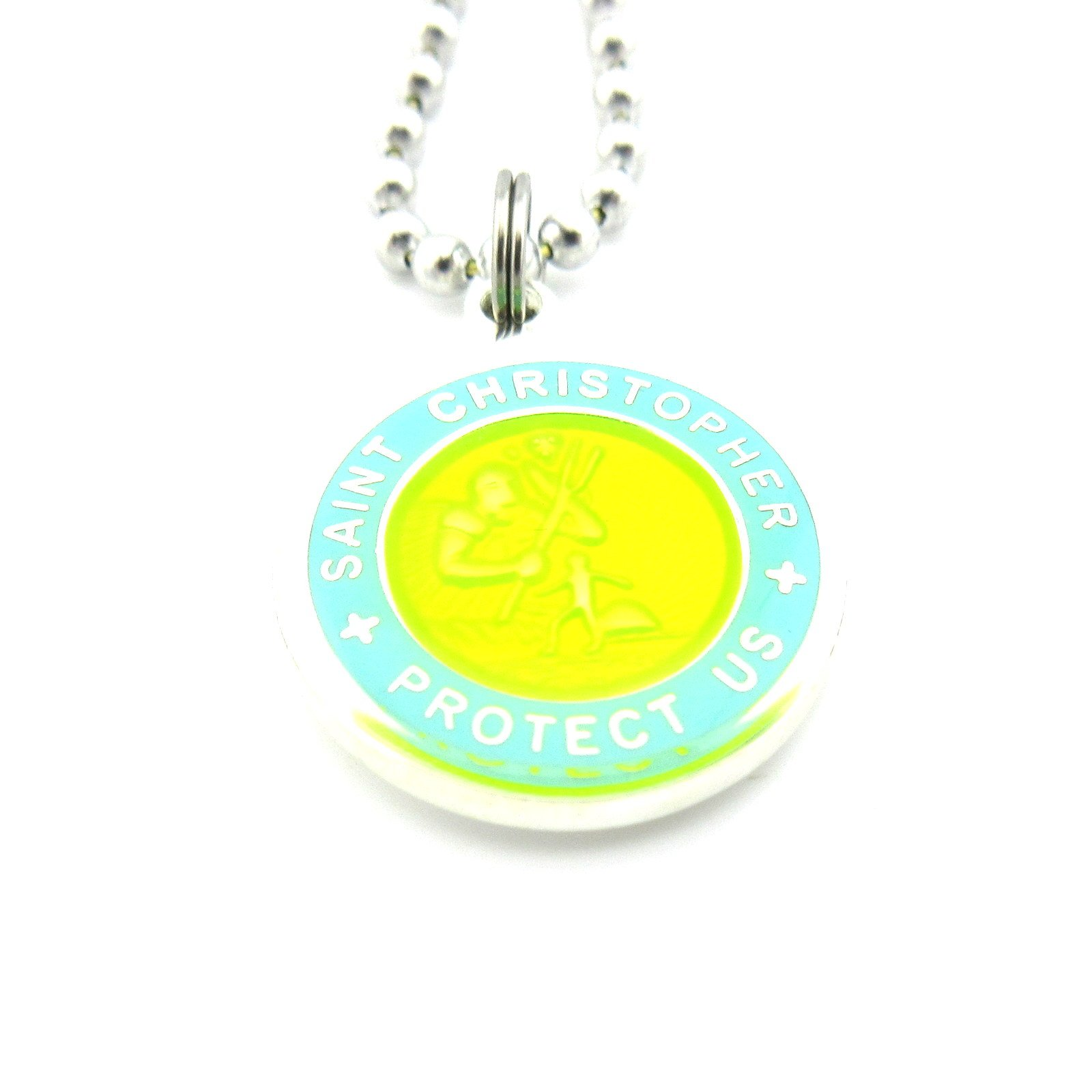 Saint Christopher Surf Medal Pendant Necklace,Yellow/Baby Blue YE/BB Medium