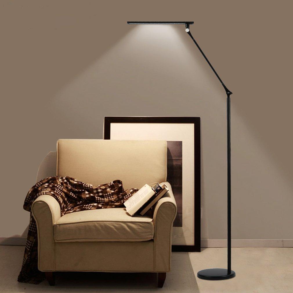 Tonffi Faltbare LED Stehleuchte Aluminiumlegierung Standlampe Mit 8W 420LM 5000K Weiss Touch Dimmbare Schalter Funf Helligkeit Fur Ihr Wohnzimmer Und