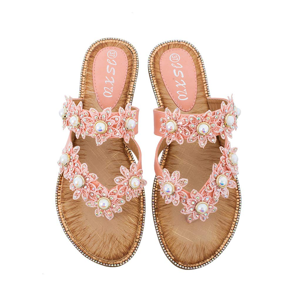 Women's Jeweled Pearl Pink Flower Flip Flops Sandals - DeluxeAdultCostumes.com