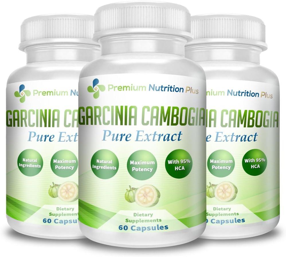 Premium Nutrition Plus Garcinia Cambogia Plus for Weight Loss – 3 Bottles