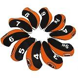Zenesty wosofe Golf Iron Covers Set for Club Mens Elasticity Protable Selections 10pcs/lot (Black/Orange)
