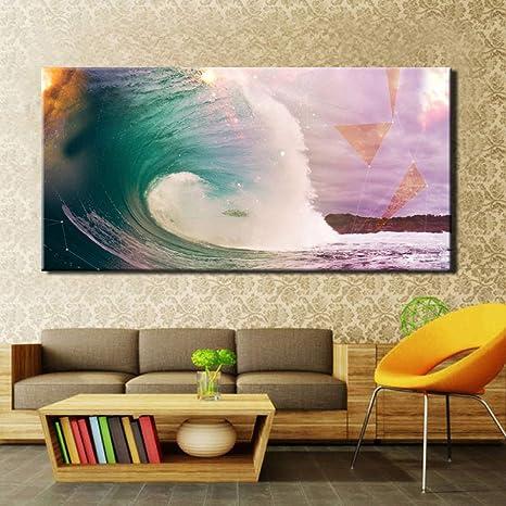 RTCKF Leinwand wandkunst Welle Landschaft große Poster ...