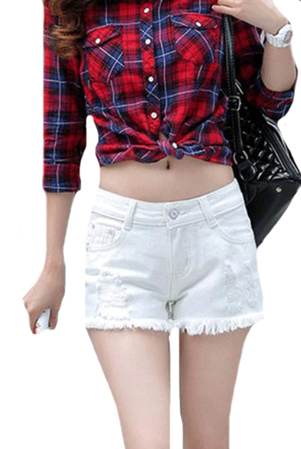 9d542bf678b9d 70%OFF Papijam Womens Casual Ripped Hole Destroyed Plus Size Denim Shorts