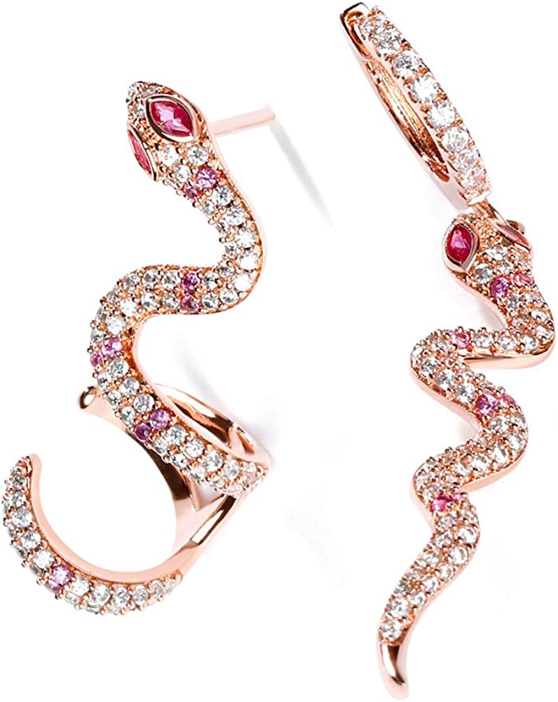 """GNOCE Snake Earrings""""Rebirth"""" S925 Sterling Silver 18k Rose Gold Pink Dangle Earrings with Clear CZ Stones for Women and Girls Gifts Fashion Personality Stud Ear Clip"""