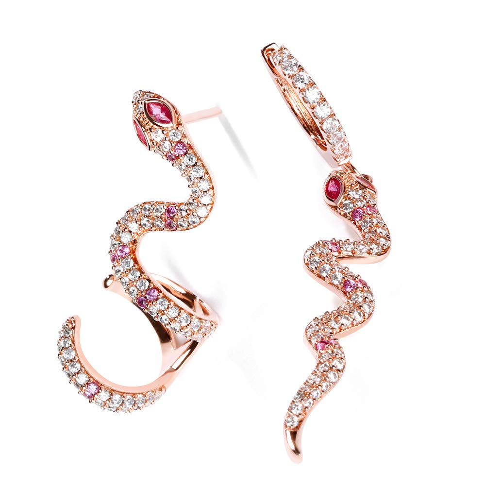 GNOCE Snake Earrings''Rebirth'' S925 Sterling Silver 18k Rose Gold Pink Dangle Earrings with Clear CZ Stones for Women and Girls Gifts Fashion Personality Stud Ear Clip